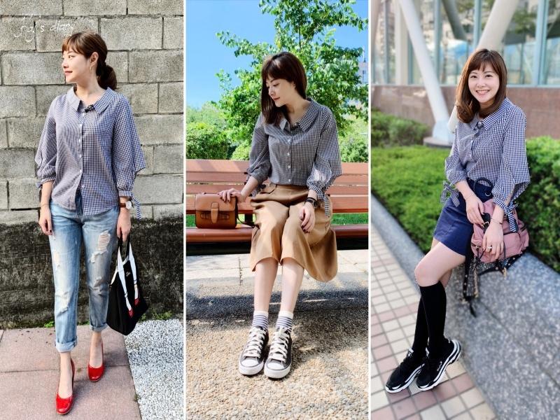 ☆【私服穿搭】格紋就是百搭。 The Madre 黑白格紋綁帶手袖襯衫 @凱的日本食尚日記