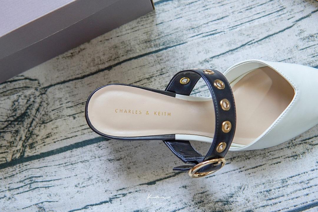 ☆【精品】我的第一雙 Charles & Keith 鞋。小CK 鉚釘低跟穆勒鞋開箱